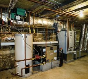 High tech mechanical equipment nestles in the 200-year-old basement