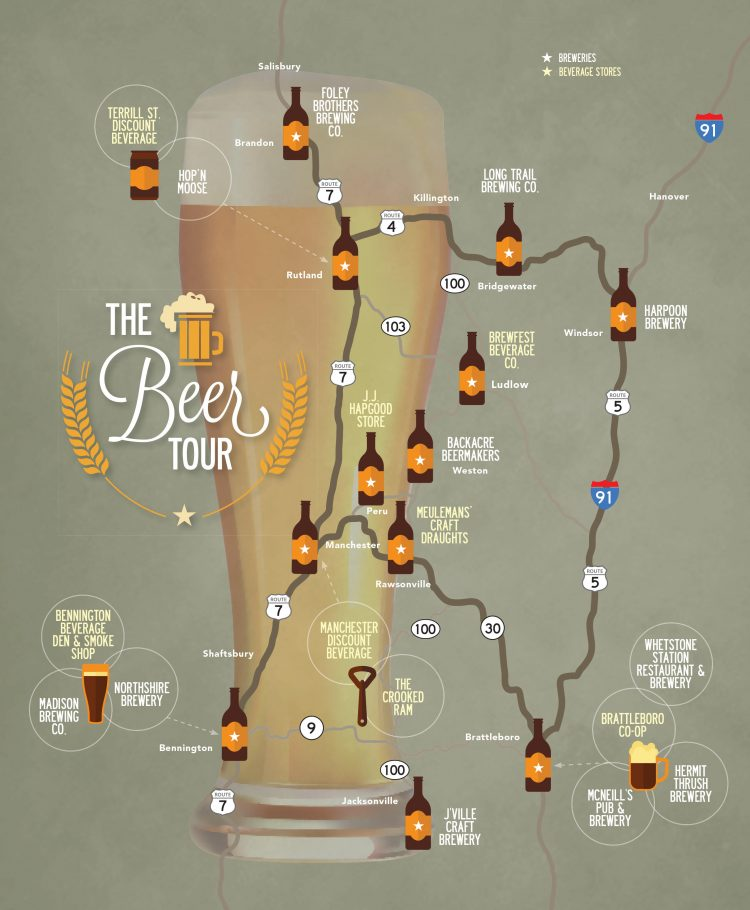 breweries in vermont map Beer And Breweries Southern Vermont Tour Stratton Magazine breweries in vermont map