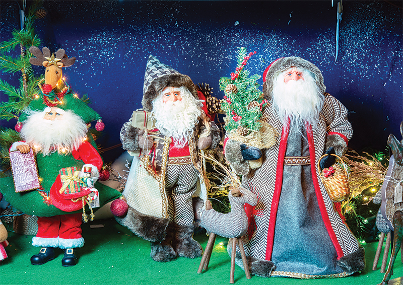 santa figurines at christmas days store